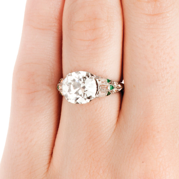 Vintage Old Mine Cut Diamond Emerald Engagement Ring