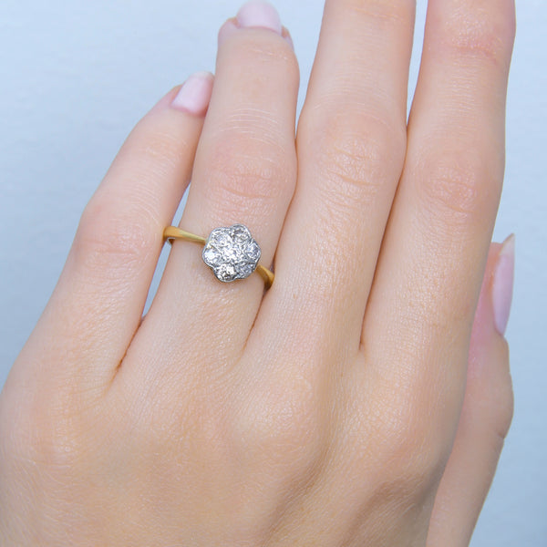 A Lovely Victorian Two-Tone Diamond Cluster Engagement Ring with English Hallmarks | Marengo
