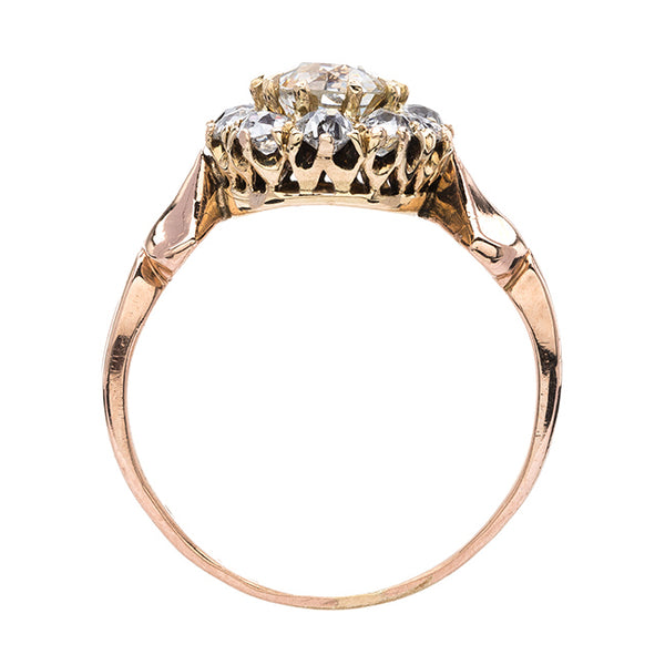 Rose Gold Diamond Halo Ring with Unique Shank | Marston from Trumpet & Horn