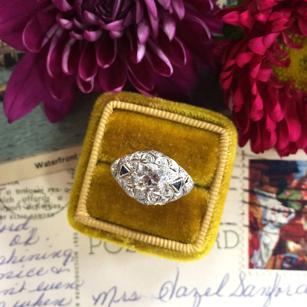 Vintage Edwardian Era Platinum Engagement Ring with Old European Cut Diamond | Marylebone from Trumpet & Horn