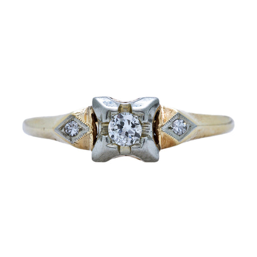 An Adorable Retro Era Two-Tone 14k Gold and Diamond Engagement Rings | Maytrail