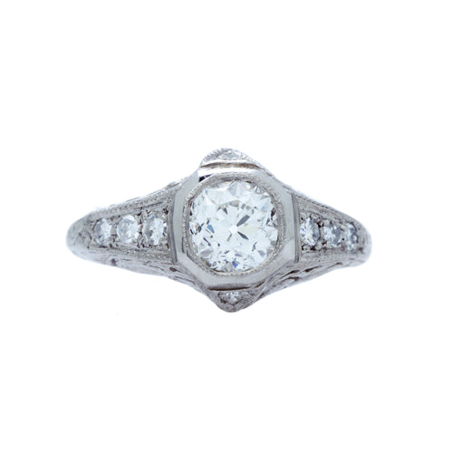 A Delightful Antique Edwardian Platinum and Diamond Engagement Ring