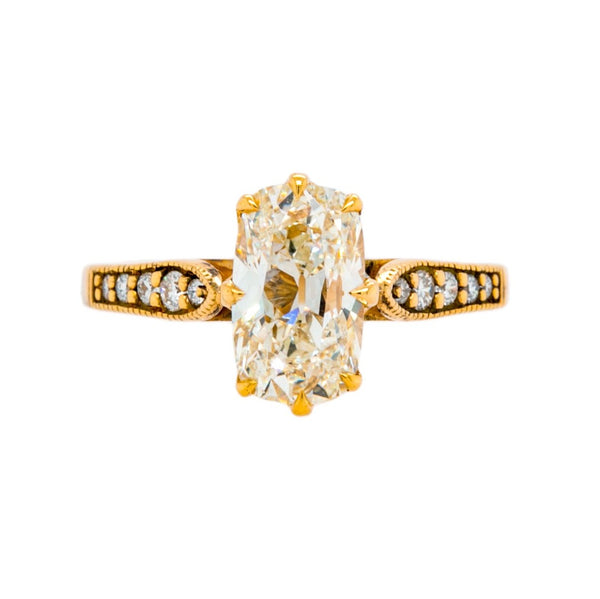 Old World Vintage-Inspired Engagement Ring with Elongated Cushion Diamond | Meridian Cushion at Trumpet & Horn