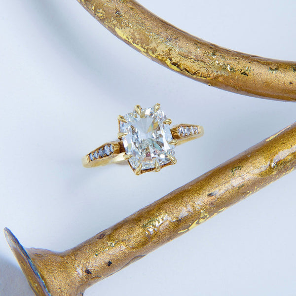 Meridian Cushion | Handmade 18k Yellow Gold engagement ring featuring a 2.01ct Old Mine Cushion Cut