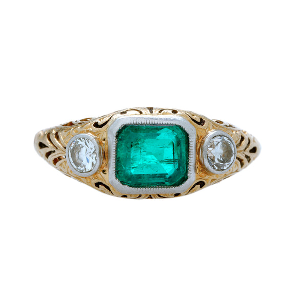 A Wonderful Victorian Era Two-Tone Emerald and Diamond Engagement Ring