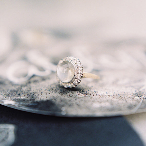 Show-stopping Moonstone and Diamond Cocktail Ring | Padaro Lane | Photo by Mike Radford