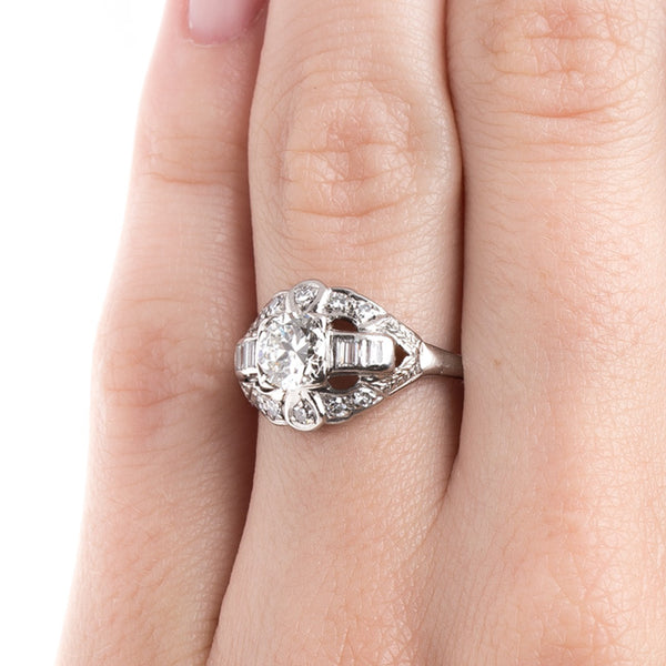 Art Deco Engagement Ring with Diamond Pave | Mission Bay from Trumpet & Horn