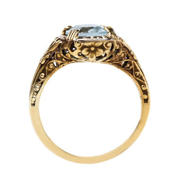 Sea Blue Aquamarine in Floral Yellow Gold Setting | Mistley from Trumpet & Horn
