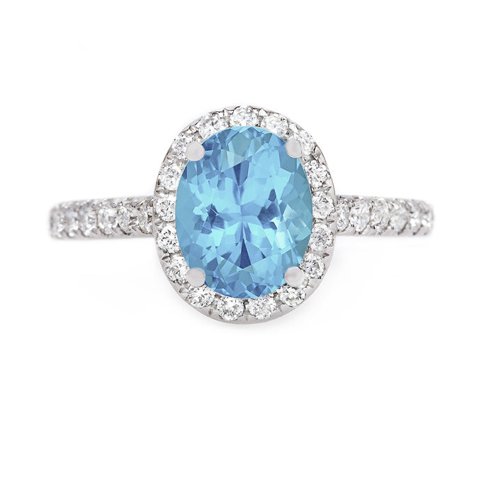 Vibrant Aquamarine Halo Ring | Tulip from Trumpet & Horn