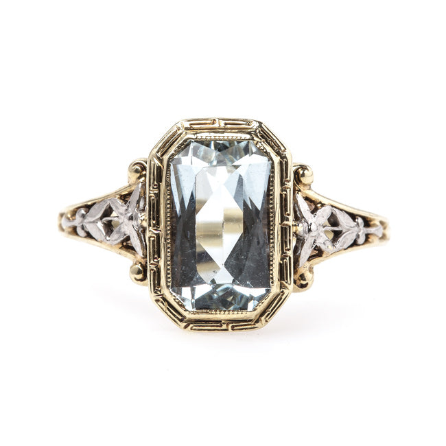 Mid-Century Engagement Ring with Floral Motif and Aquamarine Center | Leytonstone from Trumpet & Horn