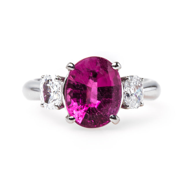 Modern Bright Pink Tourmaline Engagement Ring | Bixby Bridge from Trumpet & Horn