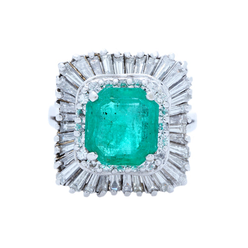 Monrovia | A gorgeous and authentic Mid-Century era 14k white gold ballerina ring featuring a fabulous 2.65ct step cut emerald