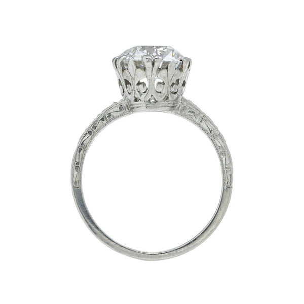 An Important Edwardian Era Platinum and Diamond 3.13cts GIA Certified Diamond Engagement Ring