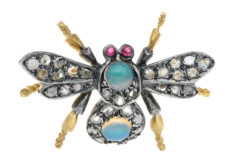 Moonstone & Diamond Insect Pin