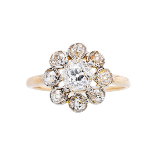 Unique Cluster Ring with Scalloped Diamond Halo | Mount Pleasant from Trumpet & Horn