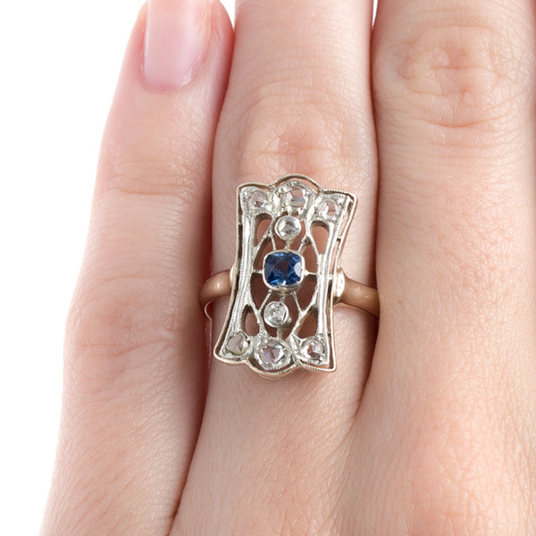 Enchanting Early Victorian Navette Ring with Cornflower Blue Sapphire | New Rochelle