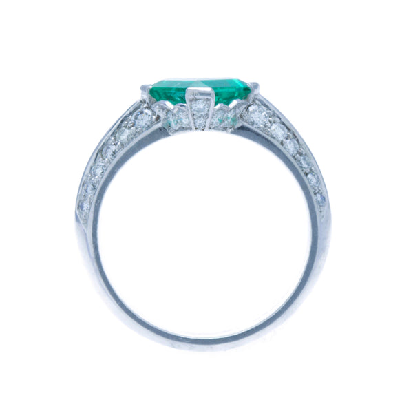 An Incredible Platinum, Emerald and Diamond Modern Era Engagement Ring | Noe Valley