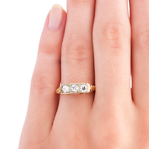 vintage three stone engagement ring