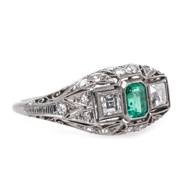 Exceptional Edwardian Era Emerald and Platinum Engagement Ring | Northbridge from Trumpet & Horn