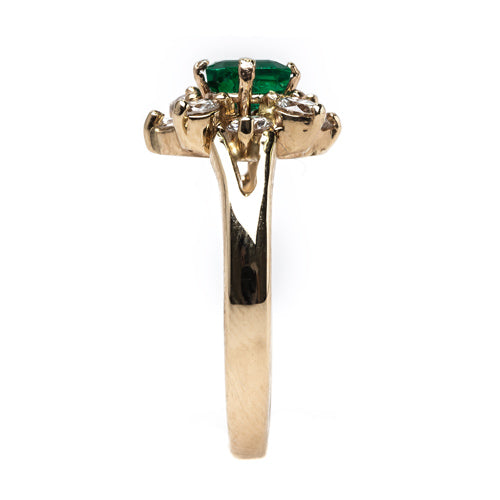 Stunning Mid-Century Emerald and Diamond Cluster Ring | Northbrook from Trumpet & Horn