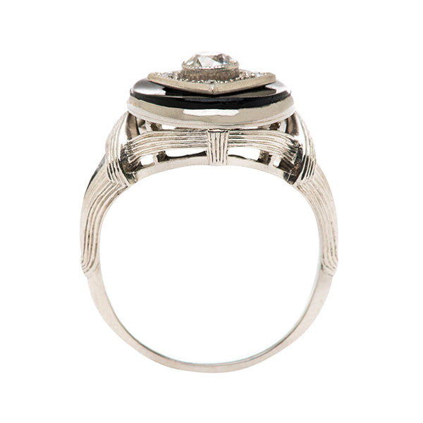 Art Deco Diamond Onyx Engagement Ring | Nottingham from Trumpet & Horn