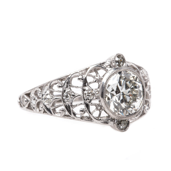 Delicate and Feminine Platinum Edwardian Engagement Ring with Diamonds | Notting Hill from Trumpet & Horn