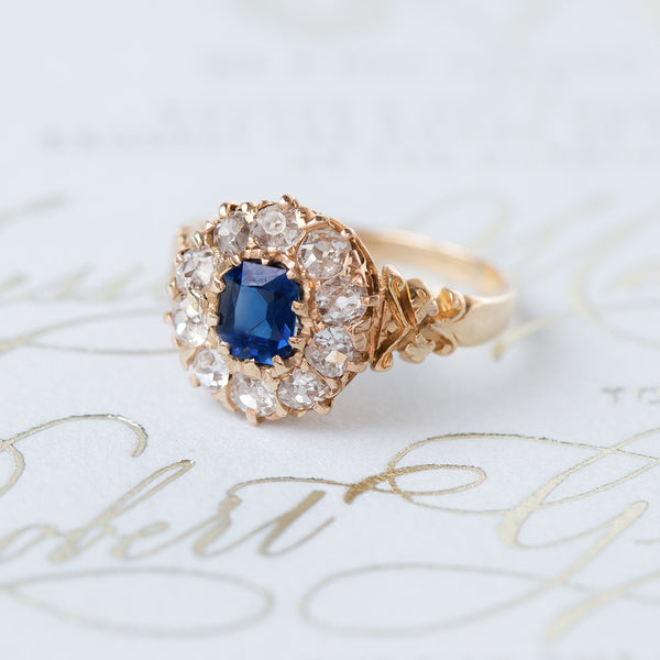 Fantastic Victorian Sapphire with Old Mine Cut Diamond Halo | Oakley from Trumpet & Horn