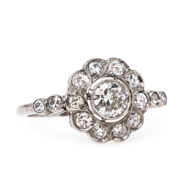 Platinum Edwardian Halo Ring | Old Portsmouth from Trumpet & Horn