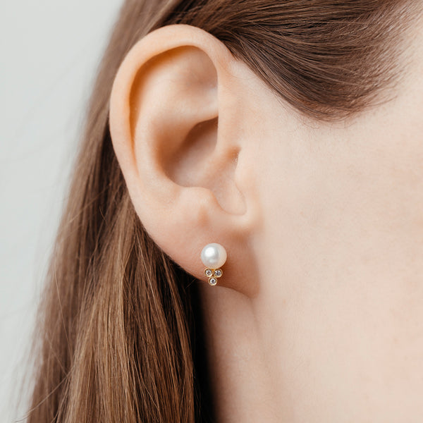 Pearl & Diamond Earrings