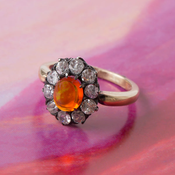 Victorian Fire Opal Ring with Diamond Halo | Orange Grove from Trumpet & Horn