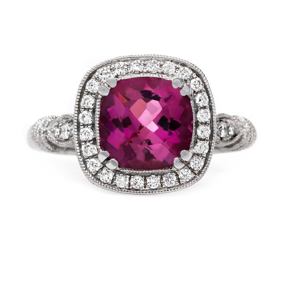 Bold and Beautiful Pink Tourmaline Halo Ring | Orchid from Trumpet & Horn
