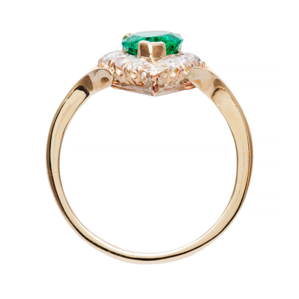 Rare and Vibrant Pear Shaped Emerald Ring | Pacific View from Trumpet & Horn