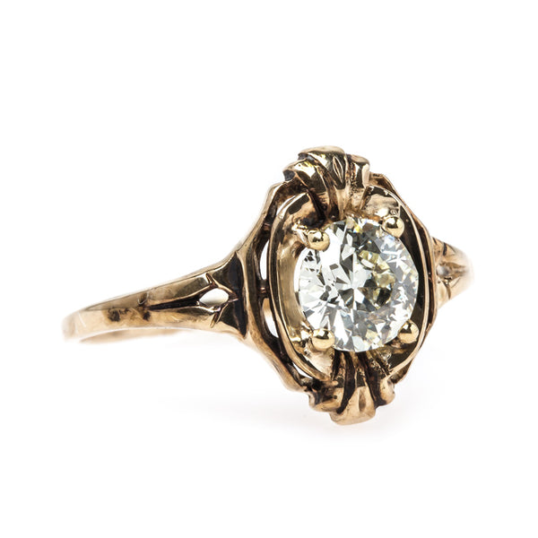 Warm Old European Cut Diamond Engagement Ring in Original Vintage Mounting | Park Royal from Trumpet & Horn