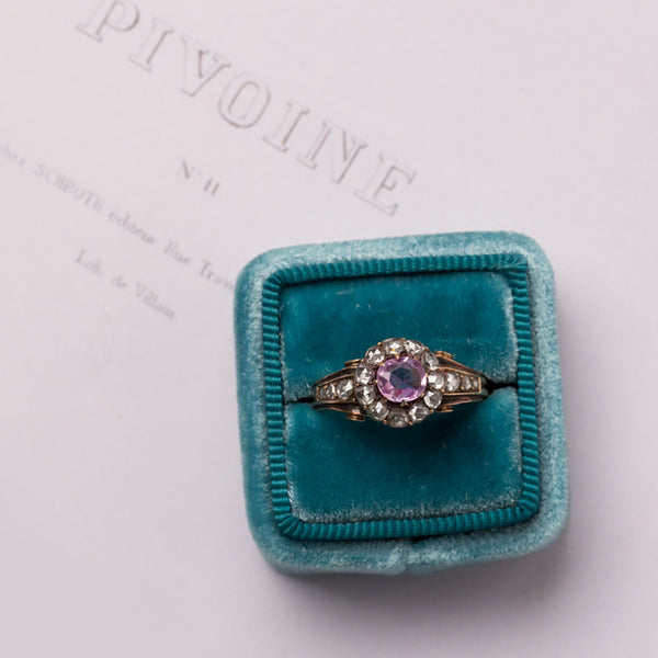Early Victorian Yellow Gold Engagement ring with Ceylon Sapphire and Halo of Rose Cut Diamonds | Pasadena from Trumpet & Horn