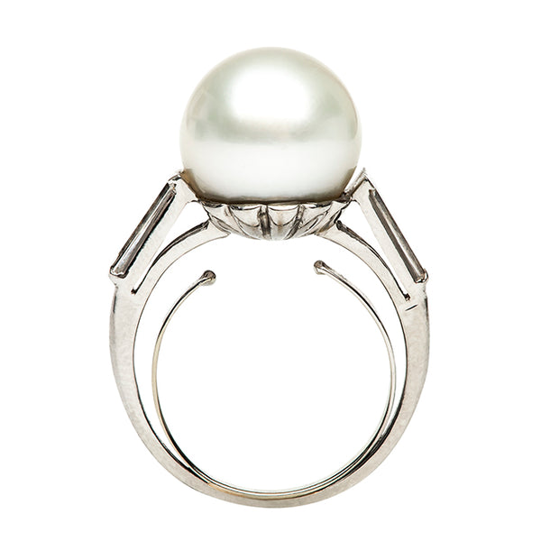 Pemberly Vintage Pearl Diamond Cocktail Ring from Trumpet & Horn