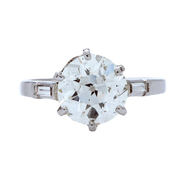 An Important Retro era Platinum and GIA Certified Diamond Engagement Ring