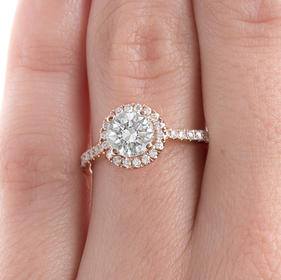 Delicate Rose Gold Diamond Halo Ring | Peony from Trumpet & Horn