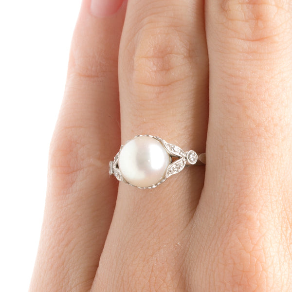 Vintage Edwardian Platinum Pearl Engagement Ring | Piccadilly from Trumpet & Horn