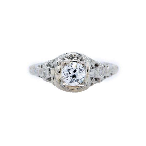 A Pretty Edwardian Era White Gold and Diamond Solitaire Engagement Ring | Pierpont