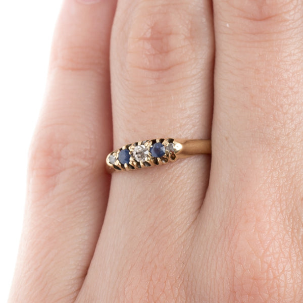Sweet Sapphire and Diamond Band with English Hallmarks | Pimilco from Trumpet & Horn