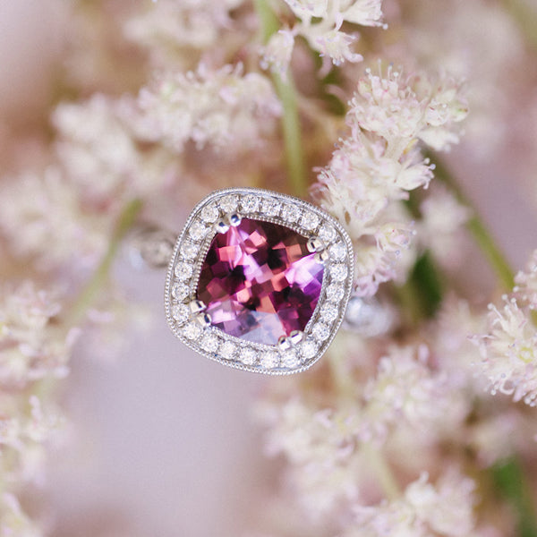 Tourmaline Halo Ring from Trumpet & Horn | Photo by Sarah Goss
