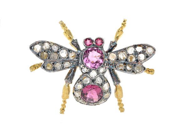 Pink Tourmaline & Diamond Insect Pin