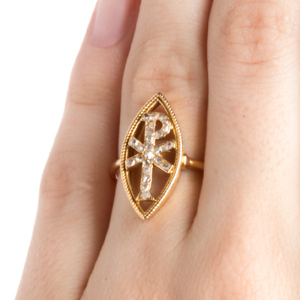 antique christogram diamond ring