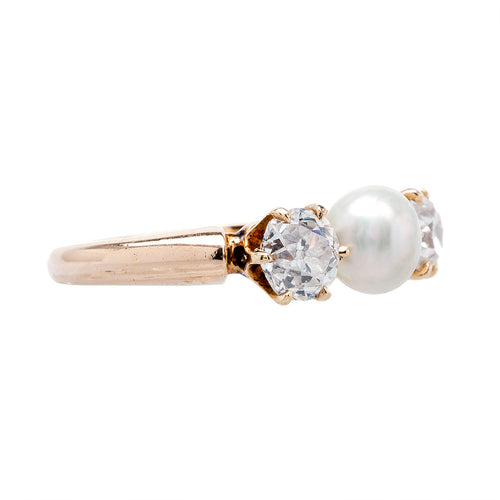 Lovely Three Stone Pearl & Diamond Ring | Portola from Trumpet & Horn