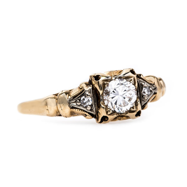 Edwardian Gold Diamond Engagement Ring | Port Royal from Trumpet & Horn