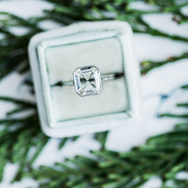 Unique Modern Engagement Ring with Emerald Step Cut Diamond | Positano from Trumpet & Horn