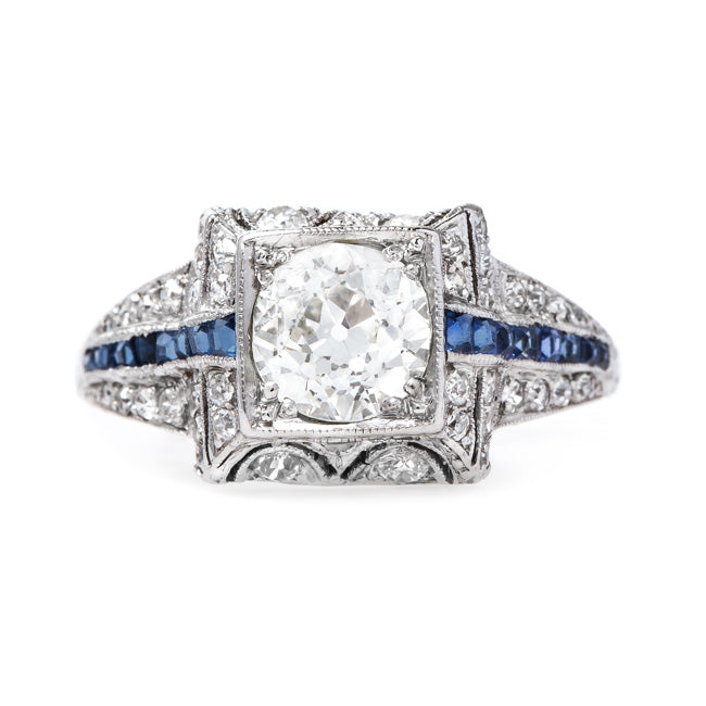 Delightful Diamond Art Deco Engagement Ring with Fan-Like Design | Winter Garden from Trumpet & Horn