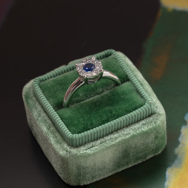 Classic Modern Sapphire Engagement Ring with Diamond Halo | Putney from Trumpet & Horn