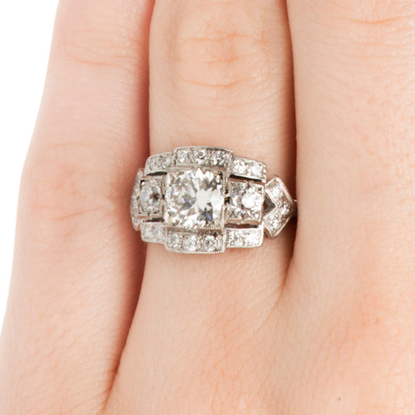 Quimbly Vintage Geometric Three Stone Diamond Halo Engagement Ring from Trumpet & Horn