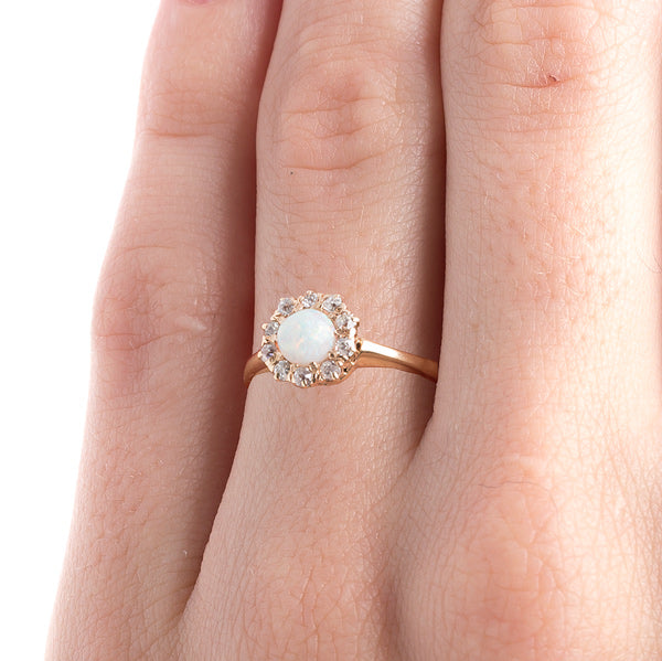 Fanciful Victorian Era Opal with Old Mine Cut Diamond Halo | Ravenscourt from Trumpet & Horn